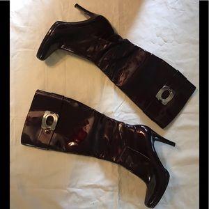 Elie Tahari Heeled Metallic plum Boots Sz 9